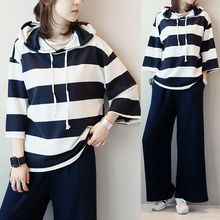 Aphrodite - Maternity Set: 3/4-Sleeve Striped Hooded Top + Plain Pants