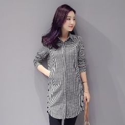 Romantica - Long-Sleeve Buttoned Long Blouse