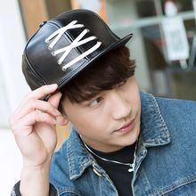 LS.SPRING - Lace-Up Faux Leather Baseball Cap