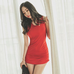 UUZONE - Cut-Off Detailed V-Neck Sleeveless Minidress