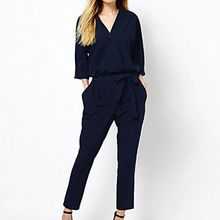 Isadora - V-Neck 3/4 Sleeve Jumpsuit