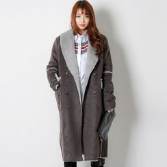 FASHION DIVA - Shawl-Collar Buttoned Faux-Shearling Coat