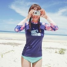 Blue Lagoon - Set: Galaxy Print Rashguard + Plain Swim Bottom