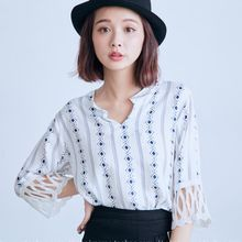 BAIMOMO - Lace-Cuff Patterned Blouse
