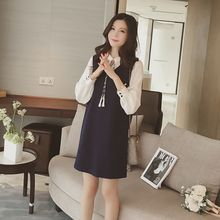 Cherry Dress - Color Panel Frill Collar Long Sleeve Dress