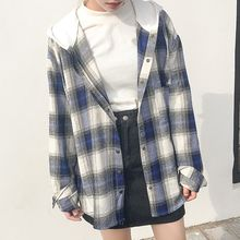 Dute - Hooded Plaid Shirt
