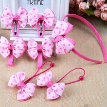 Koibito - Set of 7: Bow Hair Clip + Hair Tie + Hair Band