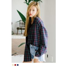 10WORLD - Plaid Long-Sleeved  Blouse