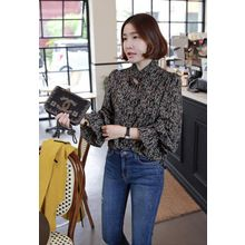 Miamasvin - Frill-Neck Patterned Blouse