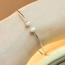 Kitty Kiss - 925 Sterling Silver Faux Pearl Bangle