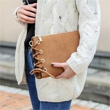 JVLLY - Eyelet-Detail Faux-Suede Clutch with Strap
