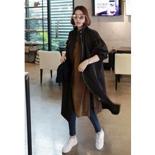 Miamasvin - Funnel-Neck Pocket-Side Long Parka