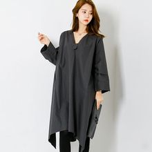 FASHION DIVA - V-Neck Loose-Fit Dress