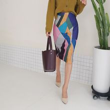 DABAGIRL - Geometric Print Pencil Skirt