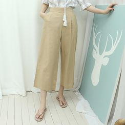 Dodostyle - Linen Blend Band-Waist Wide-Leg Pants