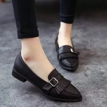 Laceuplux - Fringed Buckled Flats