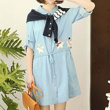 Angel Love - Star Applique Drawstring Waist Shirt Dress