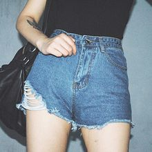 TriStyle - Distressed High-Waist Denim Shorts