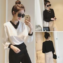 YOSH - Cross Strap Front Long Sleeve Chiffon Blouse