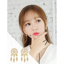 soo n soo - Rhinestone Leaf Drop Earrings