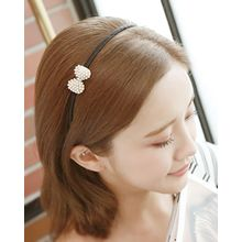 Miss21 Korea - Faux-Pearl Bow Slim Hair Band