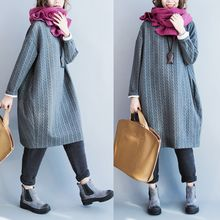 Taragon - Long Sleeve Patterned Pullover Dress