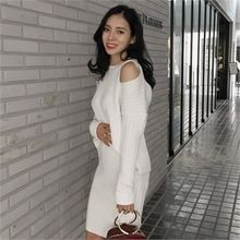 LIPHOP - Set: Cutout-Shoulder Ribbed Knit Top + Band-Waist Knit Skirt