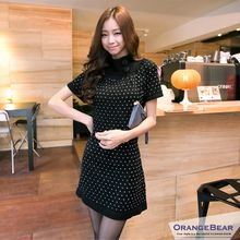 OrangeBear - Turtleneck Heart Patterned Knit Dress