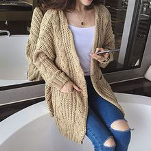 Makoumak - Cable Knit Chunky Long Cardigan