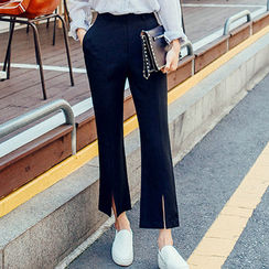 chuu - Slit-Hem Dress Pants