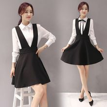 Cherry Dress - Set: Plain Shirt + V-Neck Pinafore A-Line Dress