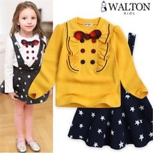 WALTON kids - Kids Set: Frilled Bow-Tie Top + Jumper Skirt