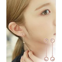 Miss21 Korea - Twin-Hoop Drop Earrings