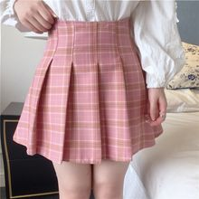 LULASI - Plaid Pleated A-Line Skirt