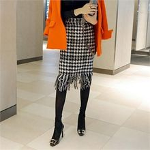 LIPHOP - Fringed-Hem Houndstooth Pencil Skirt