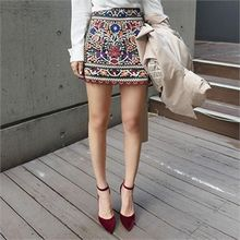 LIPHOP - Floral-Embroidered A-Line Skirt