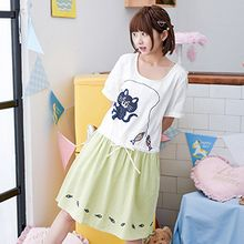Angel Love - Cat Applique Short Sleeve Drawstring Dress