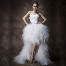 Gracia - High-Low Mesh Wedding Dress