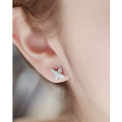 Miss21 Korea - Rhinestone-Cross Stud Earrings