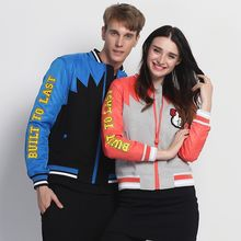 HappyTee - Applique Lettering Couple Baseball Jacket