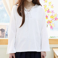 Sechuna - Sailor-Collar Lace-Up Top
