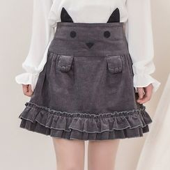 Moriville - Cat Embroidered Corduroy Skirt