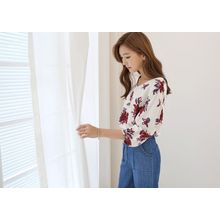 Hello sweety - Tie-Back Floral Print Top