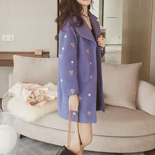 Lavogo - Embroidered Lapel Knit Coat