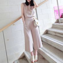 lilygirl - Set: Sleeveless Chiffon Top + Capri Wide-leg Pants