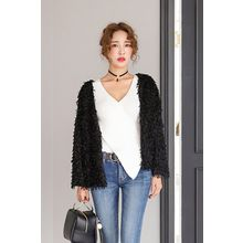 PPGIRL - Open-Front Furry-Knit Jacket