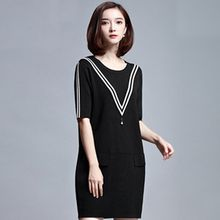 Sentubila - Stripe Elbow-Sleeve Knit Dress