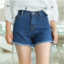 Nassyi - Frayed High-Waist Denim Shorts