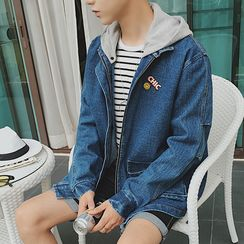 Arthur Look - Embroidered Hooded Denim Jacket