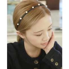 Miss21 Korea - Faux-Pearl Trim Slim Hair Band